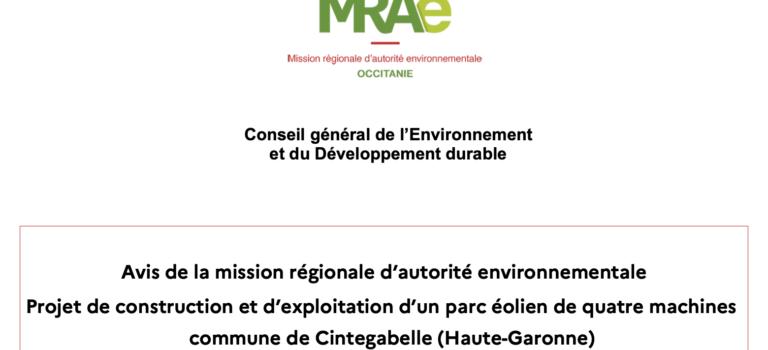 Avis de la mission régionale d'autorité environnementale